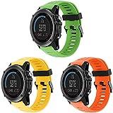 TOPsic Garmin Fenix 3 correa de reloj, Banda Reemplazo de Silicona Suave Deportiva con Herramientas para Garmin Fenix 3 / reloj elegante de Fenix 3 HR Multi-colors (naranja + amarillo + verde)