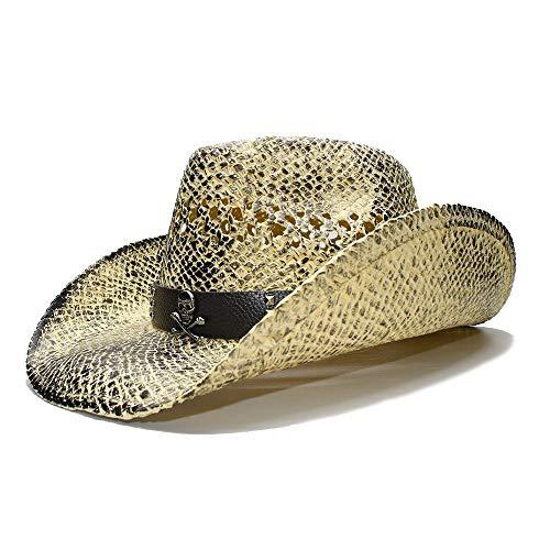 HUACHEN Sonnenhut Schwarz Retro Damen breitrandiger Strohhut Cowgirl Cowboy Westernhut Hohlledergürtel Outdoor-Hüte (Farbe : 1, Größe : 56-58CM)