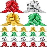 20 Lazos de Tirar Lazos de Regalo Brillantes de Navidad Lazo Festival de 5 Pulgadas de Color de Arcoíris Mezclado Surtido de Oro, Plata, Rojo, Verde para Envoltura de Regalos Navidad Boda