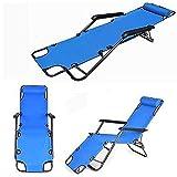 Outdoor Folding Reclining Beach Sun Patio Chaise Lounge Chair Pool Lawn Lounger (Blue)