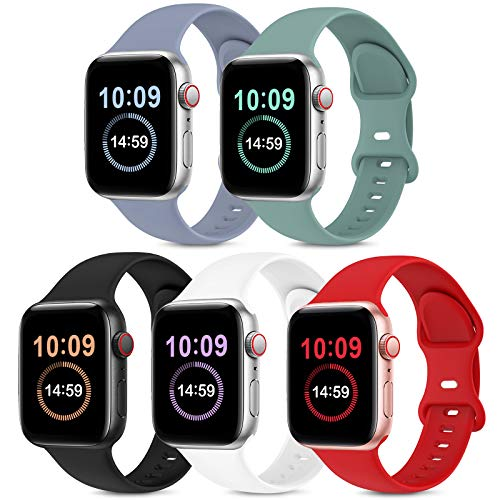 5 Pack Bands Compatible with Apple Watch Band 38mm 40mm 42mm 44mm, Soft Silicone Sport Replacement Strap Compatible with iWatch Series 6 5 4 3 2 1 SE Women Men Lavender Gray/Cactus/Black/White/Red