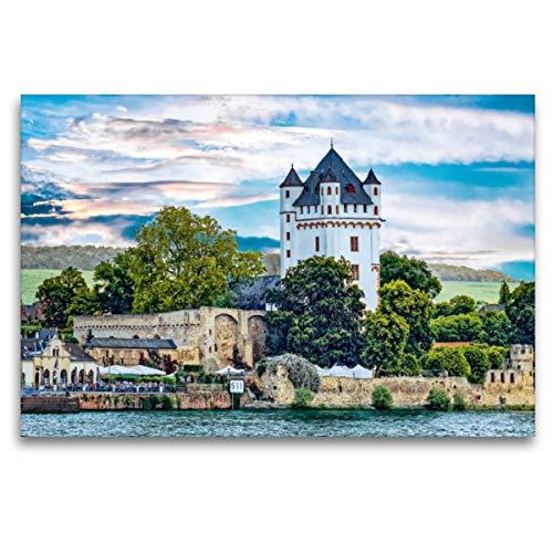 CALVENDO Premium Textil-Leinwand 120 x 80 cm Quer-Format Kurfürstliche Burg von der Rheinseite, Leinwanddruck von Dieter Meyer