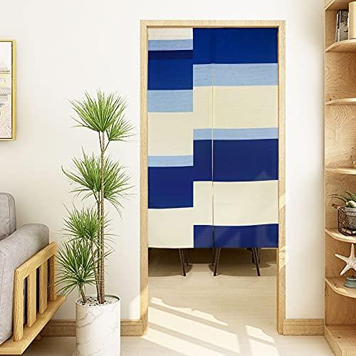 LIGICKY Noren - Cortina de Puerta Estilo japonés Moderna con Rayas abractas geométricas Impresas para Puerta, Divisor de habitación, 85 x 150 cm, Color Azul Blanco