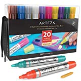 Arteza Acrylic Paint Markers, Set of 20 Assorted Colour Pens, Replaceable Tips, Water-Based, for Rocks, Canvas, Glass, Wood, Pottery and Plastic