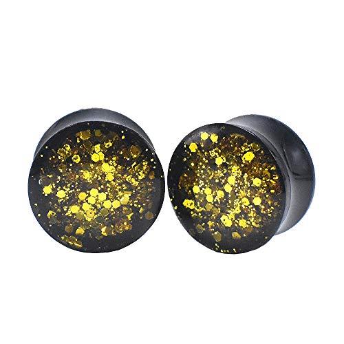 Dilatador de oreja de acrílico negro de 6 a 30 mm y calibre de lentejuelas brillantes para dilatador de oreja