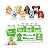 good2grow Minnie and Disney Princess Collector 6 Pack Apple Juice, 6oz- Spill Proof Character Top Bottles, Non-GMO w/no Sugar Added and Excellent Source of Vitamin C, Character Tops May Vary