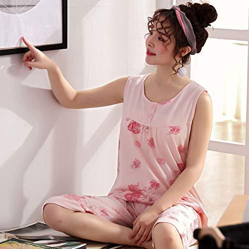 DFDLNL Ropa de Dormir de Flores Rojas pequeñas, Conjunto de Pijamas de algodón Completo para Mujer, Chaleco, chándal Informal, 2 Piezas, salón de Verano en casa L.