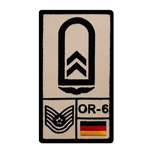 Café Viereck ® Oberfeldwebel Luftwaffe Bundeswehr Rank Patch mit Dienstgrad - Gestickt mit Klett – 9,8 cm x 5,6 cm