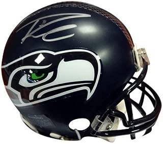 Russell Wilson Signed Seattle Seahawks Replica Mini Helmet In Silver RW - Autographed NFL Football Helmets