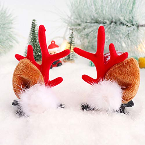 Cagora Christmas Headband Reindeer Antlers Hair Clip Xmas Hairball Antlers Hair Pins Elk Deer Animal Horns Headpiece Deer Horn Ears and Berries Hairpin Christmas Hair Accessories for Women and Girls 2 Pcs