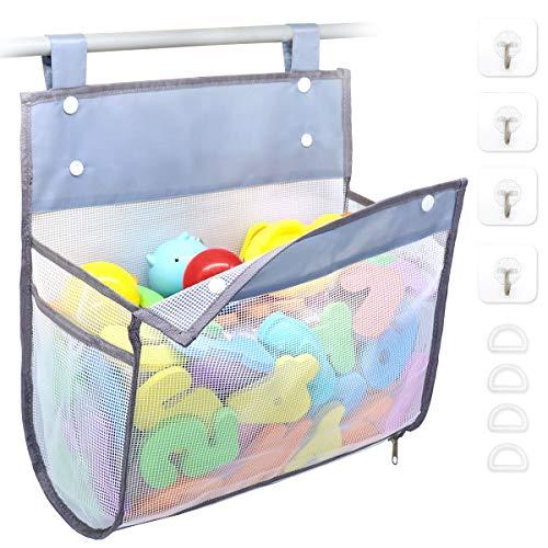 Bath Toy Organizer Multiple Ways to Hang, Extra Large Opening Bathroom Toy Holder, Bottom Zipper Bathtub Toy Storage Bag (Grey)