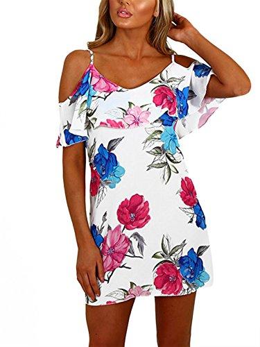 YOINS Sommerkleid Damen Sexy Tshirt Kleid Schulterfrei Tunika Kurzarm MiniKleid Strandkleid Blumenmuster Schulterfrei-Multi EU40-42