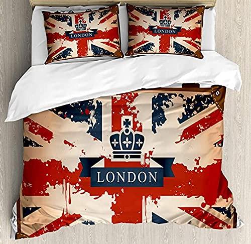 HSBZLH Funda De Edredón Motos Juego Funda Nórdica Union Jack 3 Piezas Maleta Viaje Vintage Bandera Británica Cinta Londres E Imagcorona Ropa Cama Decorativa con 2 Fundas Almohada