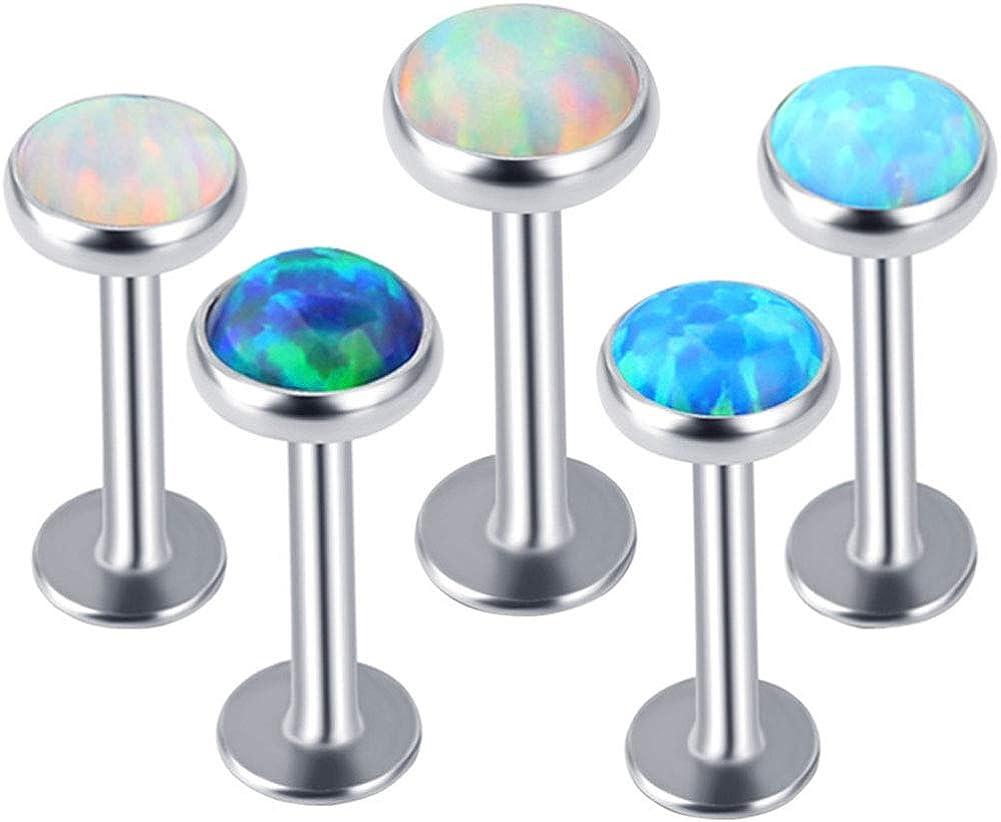 Charming Body Piercing Jewelry for Women Girls & 1Pc Men Women Faux Opal Labret Lip Ring Ear Stud Earring Body Piercing Jewelry