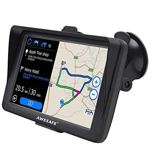 AWESAFE Navegador GPS con Visera para Coches de 7 Pulgadas con 22 Tipos PDIs y Planificaciones Inteligentes de Rutas (con Mapas Últimos y Actualizaciones de por Vida)