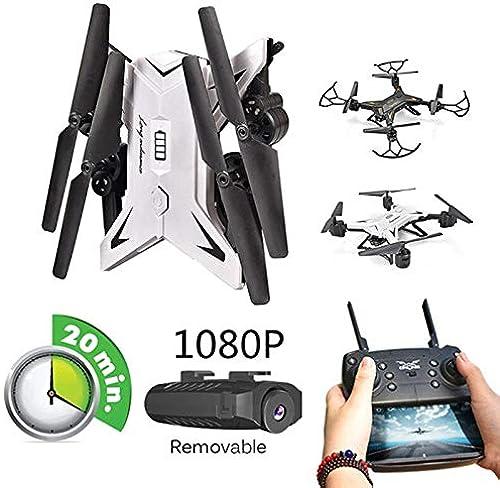 ECT KART Drone Selfie HD 1080 P WiFi FPV avec caméra hélicoptère RC Professionnel Pliable quadrirougeor 20 Minutes d'autonomie Drone (blanc with 0.3MP CAM)