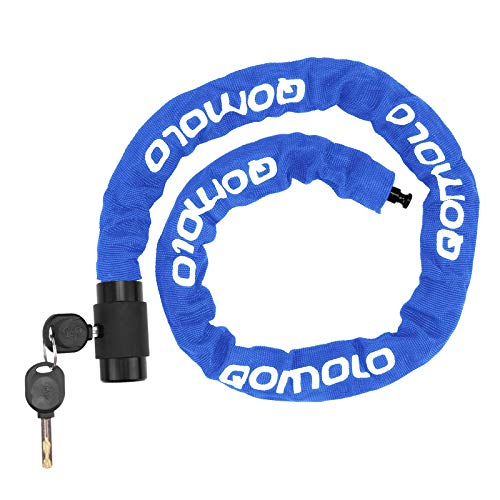 Qomolo Fahrradschloss mit Schlüssel, Kettenschloss Fahrrad, 6mm-Stahl Kette, 360 Grad Drehbares Verriegelungskopf, mit Wasserdichtem Schlüsselloch Deckel, Motorradschloss Kettenschloss, 100cm, Blau