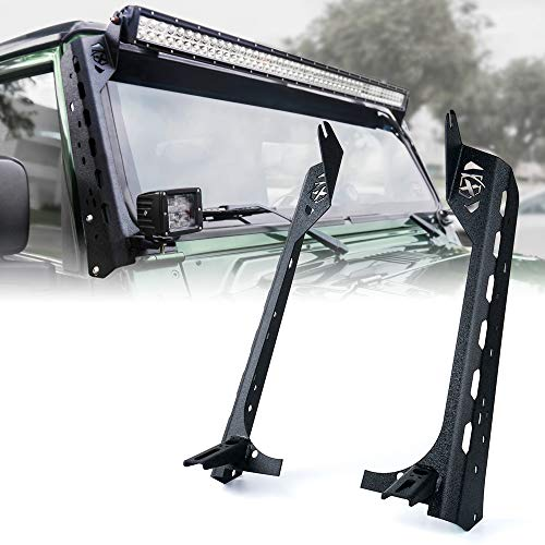 Xprite Front Windshield 50 Inch Light Bar Mounting w/Lower Bracket for 1997-2006 Jeep Wrangler TJ LJ - Mamba Series