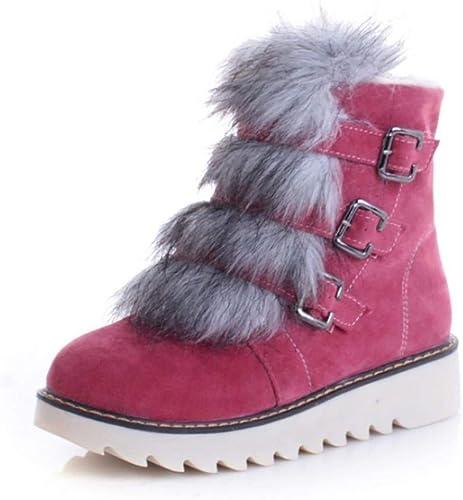 ZHRUI Pantalon d'hiver à Bout Rond pour Femme, Bottes d'hiver (Couleuré   Rose, Taille   42)
