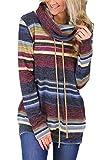 Noabat - Sudadera casual de manga larga con cuello alto a rayas Azul 1#Azul M