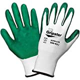 Global Glove 550 Gripster Ultralite Nitrile Glove with Knit Wrist Liner, Work, Small, Dark Green/White (Case of 72)