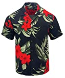 Tropical Luau Beach Floral Print Men's Hawaiian Aloha Shirt (Large, Black/Red)