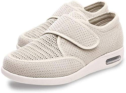 RSVT Zapatillas diabéticas Vendaje Zapatos,Zapatos de Grasa Ajustables, Zapatos de Malla para diabéticos-Blanco Crema_Reino Unido3
