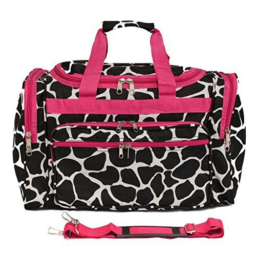 SilverHooks, Borsa a spalla donna, Giraffe - Black & White w/ Pink Trim (Nero) - T22-603-Br/F