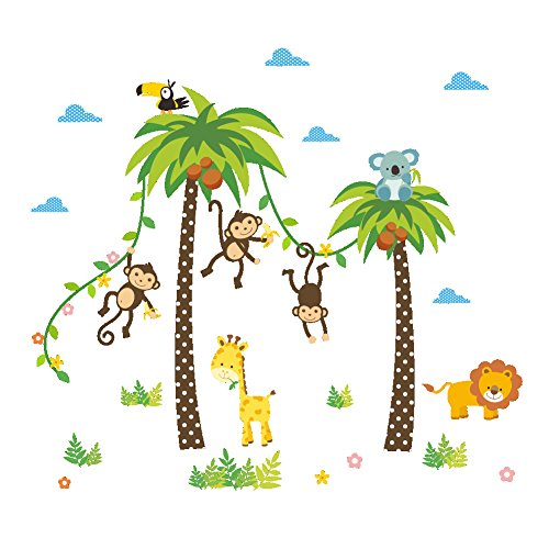 ElecMotive Jungle Autocollants Muraux Mural Stickers Chambre Enfants Bébé Garderie Salon