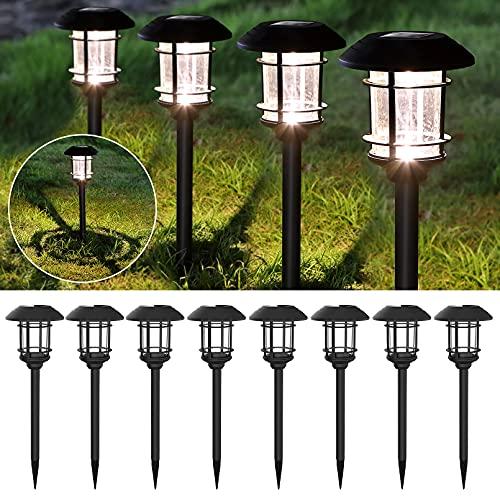 Luces solares al aire libre con energía solar LED luces de jardín 6 lúmenes luz blanca cálida iluminación automática encendido
