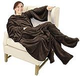 Catalonia TV-Decke Kuscheldecke mit Ärmel und Füßen, Profikuschel Ganzkörper Snuggle Decke zum Anziehen Winter Wolldecke für Erwachsene Frauen und Männer für Geschenk, 190 x 135 cm, Braun
