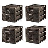 Sterilite Medium Weave Craft Office Supplies 3 Drawer Storage Organizer (4 Pack)