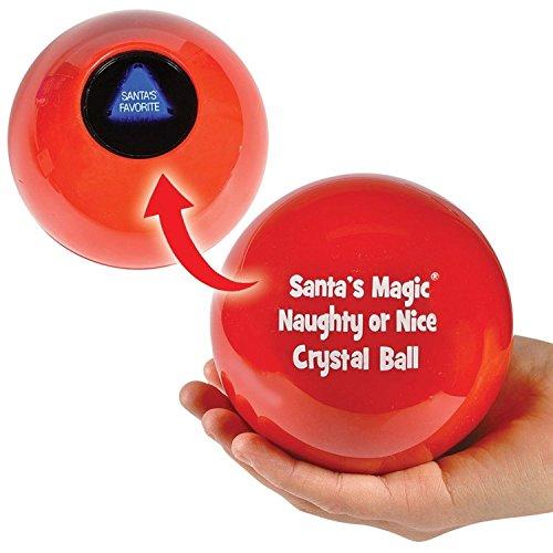 """3.75"""" Red Naughty or Nice Christmas Crystal Ball"""