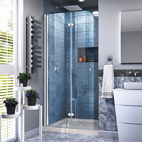 Aqua Fold 36 in. D x 36 in. W x 74 3/4 in. H Frameless Bi-Fold Shower Door in Chrome with Biscuit Acrylic Base Kit - DreamLine DL-6528C-22-01