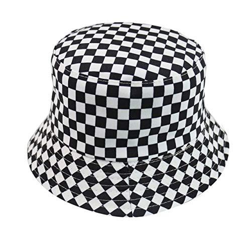 Reversible Negro Blanco patrón Sombreros de Pescador Gorras de Pescador para Mujeres Gorras de Verano-Check