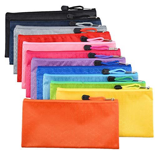 Irich 12 Piezas Impermeable Bolsas de Documentos, A6 Bolsa de Archivo con Cremallera Bolsita de Almacenamiento por Viajes, Estudio, Oficina - 24 × 12CM (12 Colores)