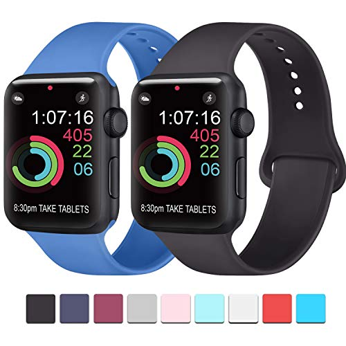 AK Compatibili Apple Watch Cinturino 42mm 38mm 44mm 40mm, Sportivo in Silicone Cinturini Compatibili iWatch Series 4, Series 3, Series 2, Series 1 (01 Black, 38/40mm S/M)