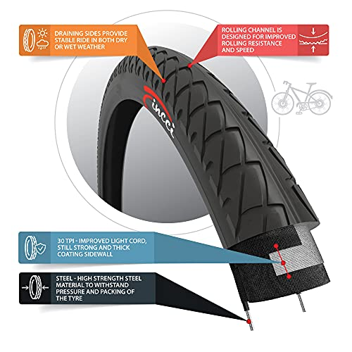 Fincci Pair 26 x 2.10 Inch 54-559 Slick Tyres for Cycle Road Mountain MTB Hybrid Bike Bicycle (Pack of 2)