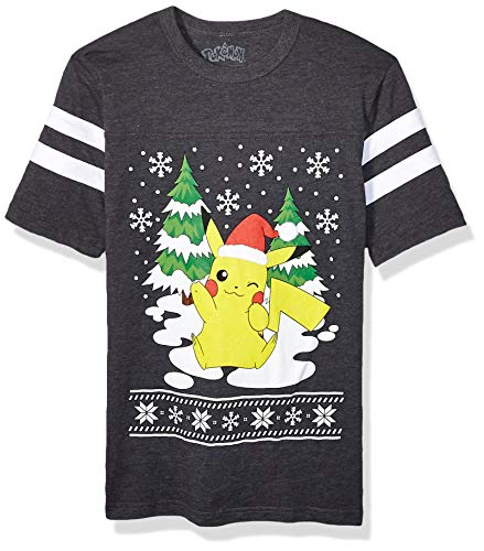 Pokemon Men's Ugly Christmas T-Shirt, Pikachu/Charcoal Heather, Large