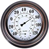 PandaCoCo 8' Indoor Outdoor Thermometer/Hygrometer for Patio, Wall Decorative (Bronze)