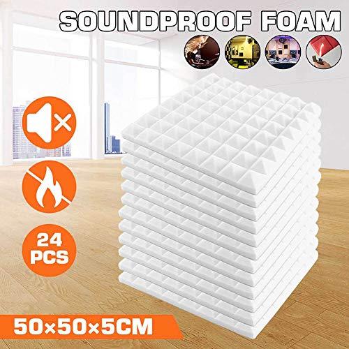 24 Stück Akustikschaumstoff Schallschutz Schaum Matte, Keilschaumstoff Schalldämmplatten Soundproof Foam, 2