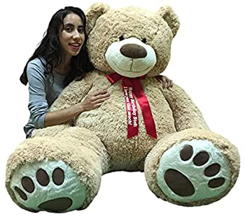 Big Plush Giant Teddy Bear 5 Feet Tall - Custom Personalized Your Name or Message Imprinted on Bear s Neck Ribbon Bow - Tan Color with Bigfoot Paws Giant Stuffed Animal Bear