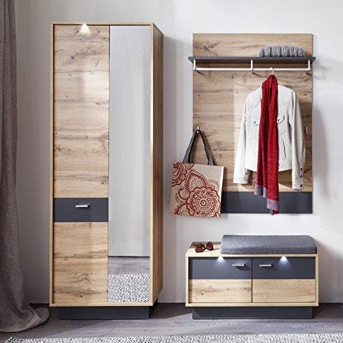trendteam smart living Garderobe Garderobenkombination 3-teiliges Komplett Set Coast, 168 x 191 x 35 cm in Wotan Eiche Dekor, Absetzung Ablage Grau mit LED Beleuchtung
