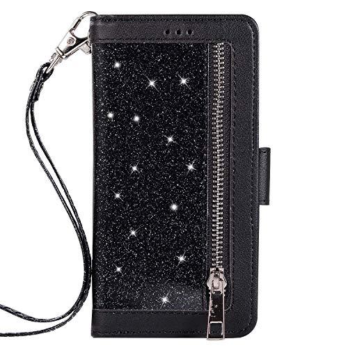 Jinghuash beschermhoes voor Samsung Galaxy S7, flip case [9 kaartsleuven] zwart.