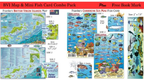 BVI Scuba Dive Map & Fish Card Combo Pack Waterproof British Virgin Islands by Franko Maps