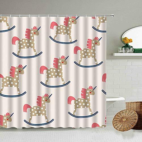XCBN Cartoon Spaß Einhorn Duschvorhang Traum Regenbogen Pink Boy Girl Badezimmer wasserdichte Vorhänge Home Decoration Mit Haken A5 180x180cm