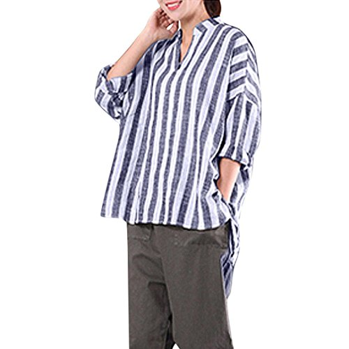 Chemise à Manche longue à rayures Femmes, Toamen Chemise en V T-Shirt Blouse Loisir Vêtements pour femmes Décontractée Dames (S, Bleu)
