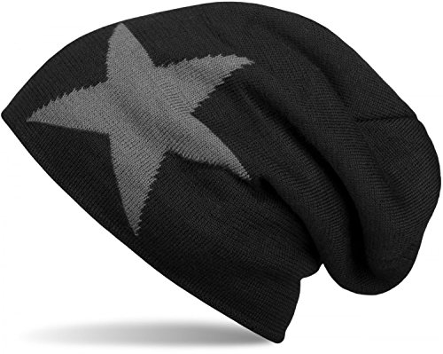 styleBREAKER warme Klassische Strick Beanie Mütze mit Stern und sehr weichem Innenfutter, Unisex 04024026, Farbe:Schwarz
