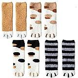 4 Pairs Winter Cat Claws Cute Thick Warm Sleep Floor Socks,Cat Paw Slipper Socks for Girls,Women (#1)