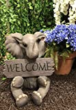 Ebros Majestic Safari Savanna Wildlife Adorable Elephant With Trunk Up Carrying Welcome Sign Plank Statue As Guest Greeter on Covered Pathways Patio Deck Home Decor Sculpture Pachy Salute Animal Theme